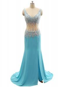 Inexpensive Mermaid Aqua Blue Sleeveless Beading Zipper Prom Dress