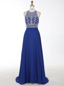 Scoop Royal Blue Sleeveless With Train Beading Criss Cross