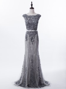 Mermaid Grey Zipper Scoop Beading Prom Gown Lace Sleeveless Brush Train