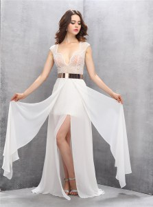 Extravagant White Chiffon Zipper Formal Evening Gowns Sleeveless Floor Length Beading and Belt