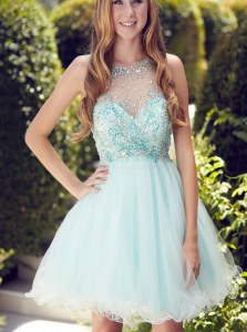 Light Blue Organza Zipper Scoop Sleeveless Mini Length Dress for Prom Beading and Ruching