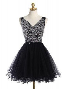 Attractive A-line Prom Party Dress Black V-neck Tulle Sleeveless Mini Length Zipper