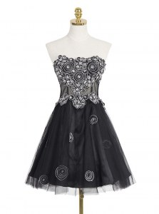 Black Sleeveless Organza Zipper Prom Dress for Prom