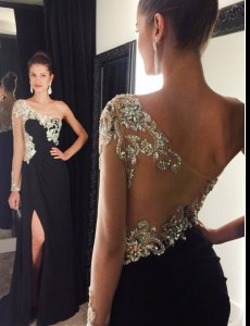 Amazing Mermaid One Shoulder Black Side Zipper Dress for Prom Beading Long Sleeves With Train Sweep Train