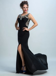 Mermaid Scoop Sleeveless With Train Beading Zipper Homecoming Dress with Black Brush Train