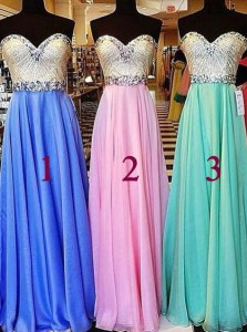 Blue Sleeveless Beading Floor Length Dress for Prom