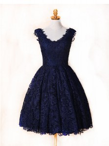Lace Knee Length Blue and Navy Blue Prom Dress V-neck Sleeveless Zipper