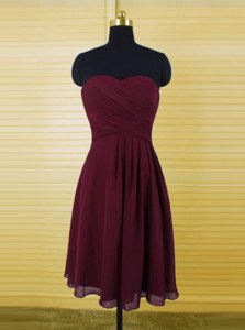 Perfect Burgundy Zipper Sweetheart Ruching Prom Gown Chiffon Sleeveless