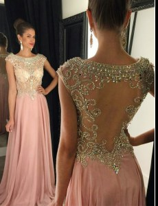 Custom Fit Cap Sleeves Brush Train Beading Side Zipper Prom Gown