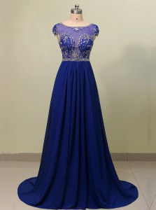 Scoop Cap Sleeves With Train Zipper Homecoming Dress Royal Blue for Prom and Party with Beading Brush Train