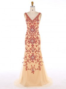 Mermaid Champagne Sleeveless With Train Beading and Embroidery Zipper Prom Evening Gown