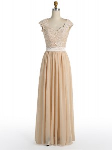 Fabulous Champagne Chiffon Side Zipper V-neck Cap Sleeves Floor Length Prom Dress Lace
