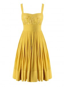 Eye-catching Beading and Pleated Evening Dress Yellow Criss Cross Sleeveless Knee Length
