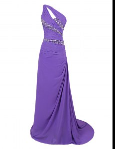 Edgy One Shoulder Purple Sleeveless Brush Train Beading Prom Dresses