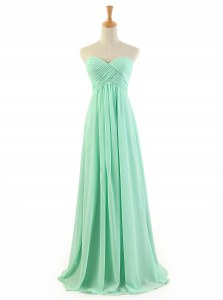 Exceptional Apple Green Chiffon Zipper Sweetheart Sleeveless Floor Length Prom Dresses Ruffles