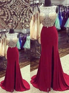 Captivating Mermaid Burgundy Chiffon Backless Bateau Sleeveless Brush Train Beading