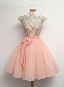 Peach Prom Gown Prom and Party and For with Appliques Scalloped Cap Sleeves Zipper