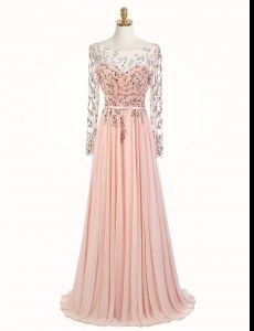 Lovely Scoop Peach Long Sleeves With Train Beading Backless Prom Party Dress