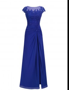 Dynamic Floor Length Royal Blue Prom Dress Scoop Cap Sleeves Zipper