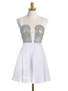 White A-line Straps Sleeveless Chiffon Mini Length Criss Cross Sequins