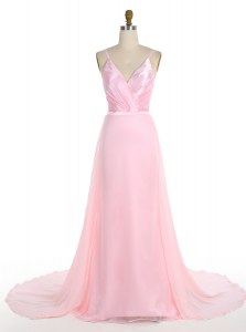 With Train Mermaid Sleeveless Pink Prom Gown Sweep Train Zipper