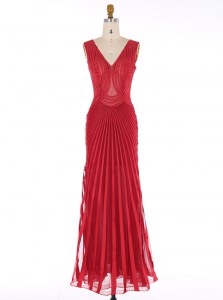 Mermaid Red V-neck Neckline Sequins Dress for Prom Sleeveless Zipper