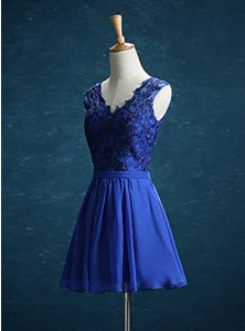 Custom Fit V-neck Sleeveless Mini Length Appliques Royal Blue Chiffon