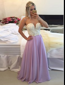 High Class Clasp Handle Scoop Sleeveless Prom Party Dress Floor Length Ruching Lavender Chiffon