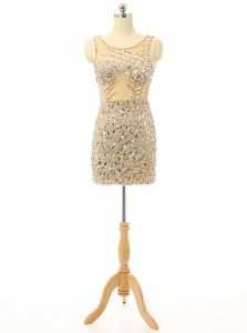 Hot Sale Scoop Beading Homecoming Dress Champagne Backless Sleeveless Mini Length
