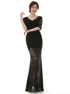 Pretty Column/Sheath Homecoming Dress Black Scoop Lace Half Sleeves Ankle Length Zipper