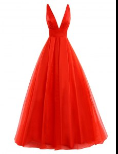 Modest Coral Red Organza Zipper Prom Dresses Sleeveless Brush Train Pleated