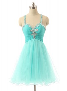 Sleeveless Beading Criss Cross Prom Dresses