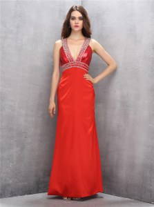 Free and Easy Coral Red Satin Criss Cross V-neck Sleeveless Floor Length Prom Evening Gown Beading