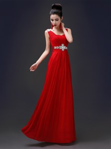 Cheap Square Beading Prom Party Dress Red Zipper Sleeveless Floor Length