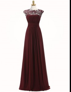 Flirting Burgundy Scoop Neckline Appliques Evening Dress Sleeveless Zipper