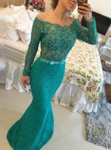 Noble Mermaid Green Backless Bateau Beading Dress for Prom Lace Long Sleeves