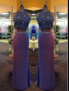 Purple Column/Sheath Beading Prom Dresses Criss Cross Chiffon Sleeveless Floor Length