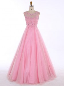 Scoop Baby Pink Sleeveless Floor Length Beading and Appliques Backless Prom Dress