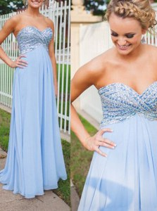 Traditional Backless Sweetheart Sleeveless Dress for Prom Floor Length Beading Light Blue Chiffon