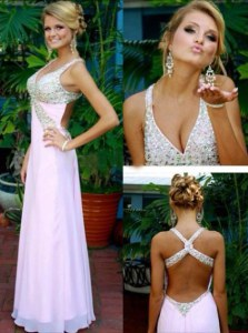 Pink Chiffon Criss Cross V-neck Sleeveless Floor Length Prom Gown Beading