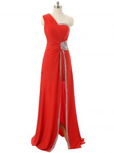 Beautiful One Shoulder Red Sleeveless Floor Length Beading and Ruching Zipper Prom Dress
