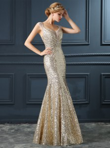 Dramatic Mermaid Sleeveless Sequins Zipper Prom Party Dress