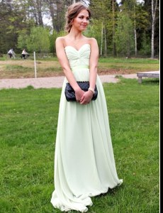 Ideal Ruching Homecoming Dress Green Backless Sleeveless Floor Length