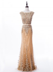 Graceful Mermaid Lace Scoop Sleeveless Brush Train Zipper Beading Homecoming Dress in Gold