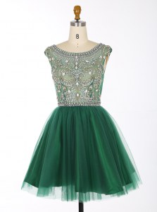 A-line Prom Gown Green Scoop Chiffon Sleeveless Mini Length Zipper