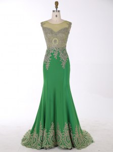 Mermaid Scoop Green Sleeveless Brush Train Beading and Appliques Prom Gown
