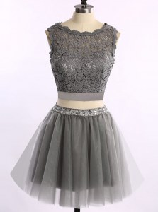Grey Scoop Neckline Lace Prom Dresses Sleeveless Zipper