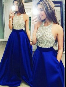 Fitting Halter Top Royal Blue Sleeveless Floor Length Beading Backless Prom Evening Gown