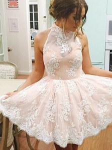 Customized Sleeveless Lace Zipper Prom Gown