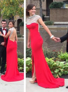 Hot Sale Backless Coral Red Cap Sleeves Court Train Beading Dress for Prom